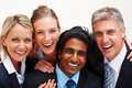 Cheerful business people smiling on white Royalty Free Stock Photo