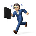 Cheerful businessman energetic with a briefcase is running in a hurry Royalty Free Stock Photos