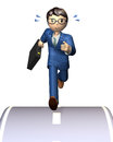 Cheerful businessman energetic with a briefcase is running in a hurry Stock Photography