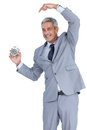 Cheerful businessman pointing out alarm clock on white background Royalty Free Stock Photo