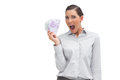 Cheerful businesswoman showing lot of money on white background Royalty Free Stock Photo
