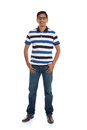 Cheerful casual indian man full body isolated on white photo Royalty Free Stock Photos