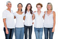 Cheerful casual models posing together on white background Royalty Free Stock Photo