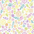 Cheerful childlike seamless pattern Stock Images