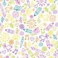 Cheerful childlike seamless pattern Royalty Free Stock Photo