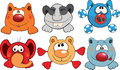 Cheerful childrens toys cartoon set of different toy animals Stock Photo