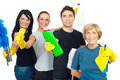 Cheerful cleaning service workers team Royalty Free Stock Photo