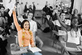 Cheerful college students in classroom diverse group of Stock Photos