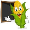 Cheerful Corn Cob with Menu Blackboard