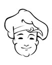 Cheerful country chef with a floppy toque and friendly smile black and white line sketch of his face Stock Images
