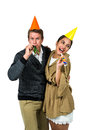Cheerful couple celebrating birthday Royalty Free Stock Photo