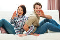 Cheerful couple having fun at home Royalty Free Stock Photography