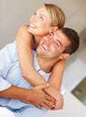 Cheerful couple in love enjoying themselves Stock Photo