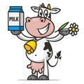 Cheerful cow holds flower and packaging milk illustration format eps Stock Image
