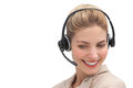 Cheerful customer service agent with headset Stock Image
