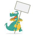 Cheerful dragon holds in hands blank board illustration format eps Stock Photography