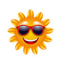 Cheerful Face of Summer Sun with Sunglasses