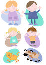 Cheerful family characters set six including mother father daughter son cat dog Royalty Free Stock Images