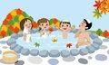 Cheerful family enjoying japanese hot spring in au vector illustration of who autumn Royalty Free Stock Images