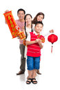 Cheerful family on tet vertical portrait of a with red symbolic isolated white Royalty Free Stock Image