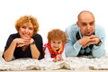 Cheerful family of three in a row Royalty Free Stock Photo