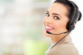 Cheerful female call center telemarketer headset Stock Image