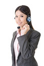Cheerful female customer support phone operator Royalty Free Stock Photo