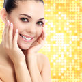 Cheerful female with fresh clear skin bright background with circles Stock Images