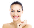 Cheerful female with fresh clear skin white background Stock Photography