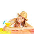 Cheerful female with fruit cocktail Royalty Free Stock Photo