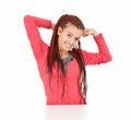 Cheerful girl with african plaits Royalty Free Stock Images