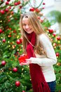 Cheerful girl with Christmas present Royalty Free Stock Photo