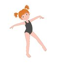 Cheerful girl is engaged in gymnastics or dance.