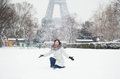 Cheerful girl enjoying winter day in Paris Stock Photography