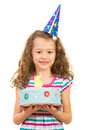 Cheerful girl holding birthday cake little isolated on white background Stock Images