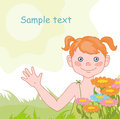 Cheerful girl on the summer background Royalty Free Stock Images