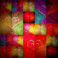 Cheerful greeting card valentines day grunge background with many hearts in bright colors Royalty Free Stock Image