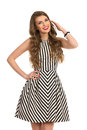 Cheerful Gril In Striped Dress Royalty Free Stock Photo