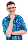 Cheerful guy in glasses with hand near chin smiling young man checkered shirt and black his isolated on white background Royalty Free Stock Images