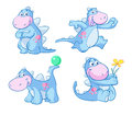 Cheerful happy dinosaur four illustrations or cartoon drawings of a smiling blue Royalty Free Stock Image
