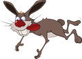 Cheerful hare rabbit cartoon flying with long red language Stock Photography