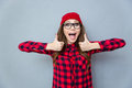 Cheerful hipster woman showing thumbs up Royalty Free Stock Photo