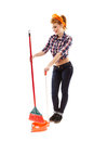 Cheerful housewife sweeping the floor full length studio portrait of sexy isolated over white background Royalty Free Stock Image