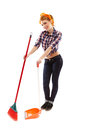 Cheerful housewife sweeping the floor full length studio portrait of sexy isolated over white background Stock Image
