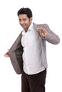 Cheerful Indian young businessman dancing Stock Photography