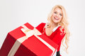 Cheerful joyful female smiling and holding big red present box young over white background Stock Images