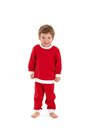Cheerful kid in santa costume Stock Photos