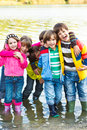 Cheerful kids group Stock Photos