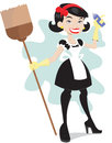 Cheerful lady holding cleaning aids Royalty Free Stock Photography