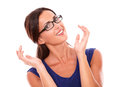 Cheerful lady in purple dress wearing glasses while looking at you smiling white background Stock Photos